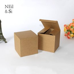 Print Custom Wrapping Paper Australia - 100pcs Kraft Gift Box Candle Cream Jar Bottle packaging Brown Paper Boxes Square Custom Free shipping