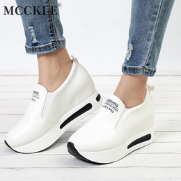 Wholesale MCCKLE Women Creepers Spring Increasing Height Shoes Casual Slip On Moccasins Platform Wedge Heel Fashion Elastic Band Footwear