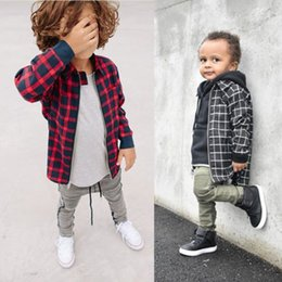 $enCountryForm.capitalKeyWord Australia - New Style Baby Kid Girl Boy Plaid Shirt Long Sleeve Zipper Outfit Shirt Tops Blouse Children Spring Fall Casual Checks Clothes