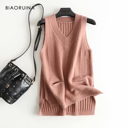 casual chic style women 2019 - BIAORUINA Women Korean Style Elegant Knitted Sweater Side Split Female Casual Sleeveless V-neck Pullovers Ladies Chic Sw