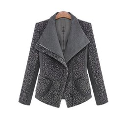 2018 Women Autumn Winter Coat Jacket Fashion Classic Wool Blends Lapel Outwear Black Gray Work Suit Plus Size Coats Jackets