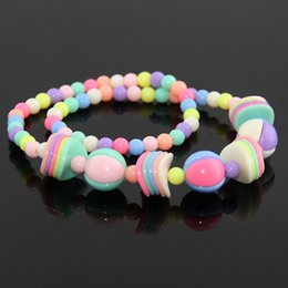$enCountryForm.capitalKeyWord NZ - New Spring Resin Beads Children's Necklace Baby Bracelet Fashion Wafer Mixed Colored Flowers Girls Gift Princess Jewelry