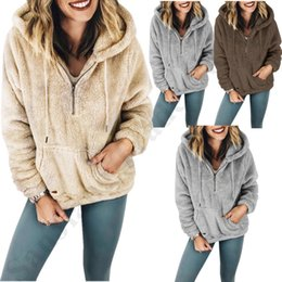 $enCountryForm.capitalKeyWord Australia - S-5XL Women Hoodies Camofleece Pullover Tops Hooded Sweatshirts 1 4 Zipper Sweaters with Pocket 2019 Long Sleeve Warm Winter Clothes C91107