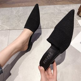 Korean Ladies Canvas Shoes Australia - 2019 New Summer Korean Fashion Simple Pointed Half Slippers Ladies Wear Middle Heel Stiletto Knit Slippers Cute Women Shoes