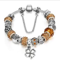 $enCountryForm.capitalKeyWord Australia - Four Leaf Clover Dangle Silver Bead Charm Murano Glass Beads Crystal Fit European Women Charms Bracelets Safety Chain Jewelry DIY Making