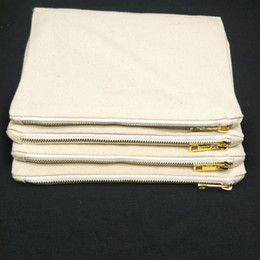 $enCountryForm.capitalKeyWord Australia - 50pcs lot 12oz thick natural cotton color canvas makeup bag with lining and gold metal zip cheapest blank natural cotton canvas cosmetic bag
