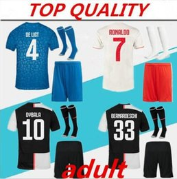 Wholesale 2019 JUVENTUS Soccer Jersey ADULT KIT with socks DE LIGT RABIOT CHIELLINI RONALDO Football Shirt adult men kit top quality