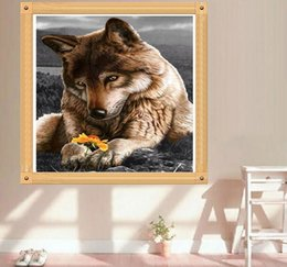 $enCountryForm.capitalKeyWord Australia - Brown Wolf DIY 5D Diamond Stitch Round 3D Diamond Stitch Tools Kit Diamond Mosaic Room Decor