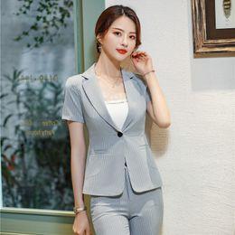 Office Wear Women Clothing NZ - Summer Formal Ladies Grey Blazers Women Jackets Short Sleeve Business Clothes Work Wear Office Uniform Styles