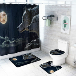 $enCountryForm.capitalKeyWord Australia - Cilected 4Pcs Set Animal Print Shower Curtain Carpet Tiger Lion Wolf Bathroom Waterproof Curtain Toilet Seat Cushion Slip Rugs