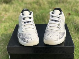 Mesh Fiber Australia - 2019 Authentic 11 Low SE Snakeskin White Grey Men Basketball Shoes Real Carbon Fiber CD6846-002 Light Bone Running Shoes Sneakers Size 7-13