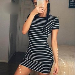 $enCountryForm.capitalKeyWord Australia - Summer Women Sheath Dress Short Sleeve O-neck Bodycon Dress For Female Black And White Striped Ladies Party Dress Plus Size