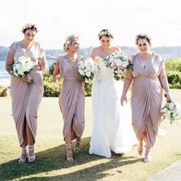 Sheath Wedding Dresses Split Australia - 2019 New Fashion Sheath Bridesmaid Dresses V Neck Pleats Front Split Plus Size Wedding Party Gowns Formal Dress Maid Of Honor Dress Vestidos