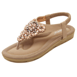df858e4b933160 Womens Bohemian T-strap Flat Sandals Rhinestone Flowers Beach Sandal  Crystal Flip-Flop Thong Shoes Comfor Casual Walking Shoes