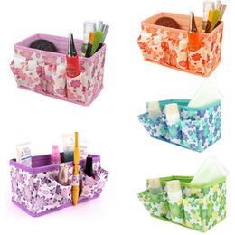 $enCountryForm.capitalKeyWord NZ - New Makeup Cosmetic Bag Storage Multifunction Box Bright Organiser Printing Flower Foldable Stationary Container 27pcs lot