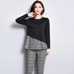 $enCountryForm.capitalKeyWord NZ - Office 2 piece set women 2018 autumn winter clothes plus size large big 3xl 4xl 5xl black top and pants suits outfits co-ord set