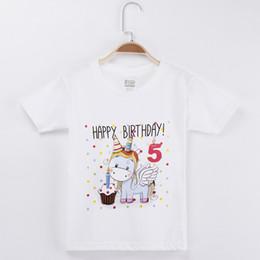 Children White Tees Australia - 2019 Kids Clothes Girls T-shirt Happy Birthday Kawaii Unicorn 100% Cotton Short Sleeve Children Clothing Boys Tshirts Baby Tees Y19051003