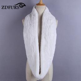 Black Fur Scarves Australia - ZDFURS * Women Infinity fur scarf genuine real knitted rex rabbit fur winter men scarf handmade Black Gray