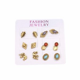 9bdb2a041 3929 Studs European and American Punk Retro Gem Elephant Leaves 6 Pairs of  Geometric Set Earrings Wholesale Fashion Alloy Plating OPP Bag