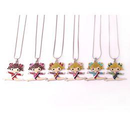 Gymnastics Pendants Australia - Q11 Gymnastics girl pendant Zinc Alloy Rhodium Plated Mixed Color Crystal Cheerleader Girl Pendant snake chain necklave