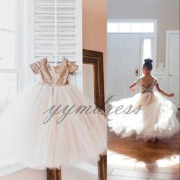 Sequin Party Dresses For Girls Australia - Flower Girl Dresses For Weddings Party Short Sleeve Jewel Sequin Tull First Girl Communion Dress Kids Formal Gowns