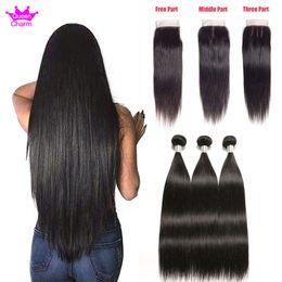 $enCountryForm.capitalKeyWord Australia - 8-28 Inches Brazilian Straight Virgin Hair Extensions 2 3 4Bundles With 4x4 Lace Closure Straight Brazilian Human Hair Bundles With Closure