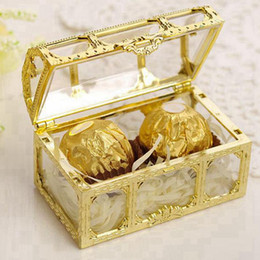 mini plastic cases UK - Treasure Chest Candy Box Wedding Favor Mini Gift Boxes Food Grade Plastic Transparent Jewelry Stoage Case RRA2297
