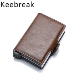 $enCountryForm.capitalKeyWord NZ - Double Box Rfid Credit Card Holder Case Aluminum Business Id Cards Wallet Creditcard Passes Holder Metal Leather Visit Pocket J190702