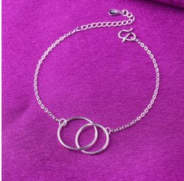 Circle Star Ring Australia - Korean Korean star silver plated twist double circle bracelet double ring circle geometric personality hot sale anklet
