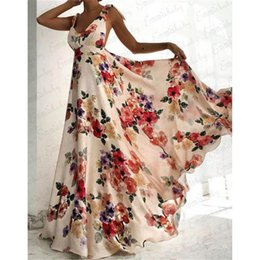 xl boho dresses 2019 - Women Summer Sleeveless Dress Sexy Floral Print V-Neck Backless Vintage Long Boho Party Cocktail Women Casual Beach Dres