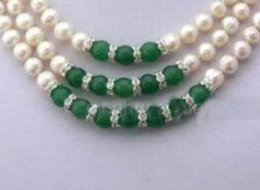 $enCountryForm.capitalKeyWord Australia - 3Rows 7-8MM Real White Akoya Cultured Pearl & Green Jade Pendants necklace