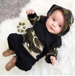 christmas clothes Australia - Explosion models INS spring and autumn children's clothing new children's hooded camouflage hoodies trousers suit for identity 70cm-100cm
