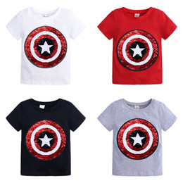 Super girl Shirt online shopping - kids designer clothes girls boys Sequin Top children Dinosaur unicorn Super hero T shirts Summer Tees fashion Kids Clothing C6662