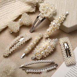 $enCountryForm.capitalKeyWord Australia - Fashion Pearl Hair Clips For Women Girls Silver Bowknot Hairpins Female Hair Jewelry Wedding Party Gifts 8 Designs