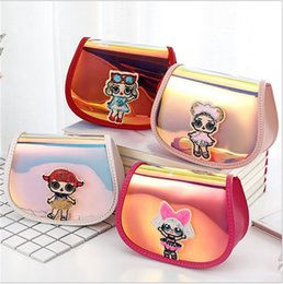 $enCountryForm.capitalKeyWord NZ - INS Surprise Girls Chain Bag Brand Designer Crossbody Bags Kids Fanny Pack Cartoon Waist Bags Pu Leather Laser Backpacks Purses Pouch B71702