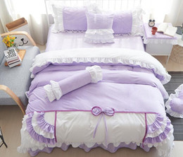 princess print bedding set 2019 - Cotton Bedding Set Princess Style Lace Bow Knot Design Duvet Cover Bed Sheet Set Full Size discount princess print beddi