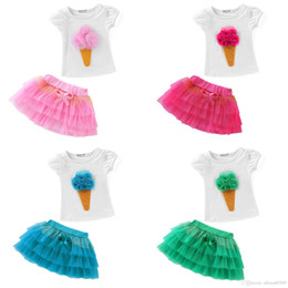 Hot Pink Tutus Children Australia - Children Girls Set White T shirt Puff sleeve Ice Cream Flowers + Tutu Tiered Skirt 2pcs set Hot selling Pink Rose 2-8years Summer