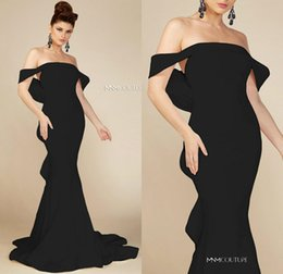 $enCountryForm.capitalKeyWord Australia - Simple Design Mermaid Prom Dresses Off Shoulder Ruffles Bow Back Sweep Train Arabic Dubai Trumpet Occasion Evening Gown MNM Couture