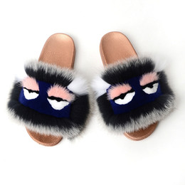 $enCountryForm.capitalKeyWord Australia - Big fox hair down fox fur slipper high quality female mow fox hair color women slipper female home fashion non-slip leisure beach shoes
