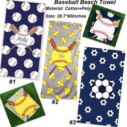 girls beach towels NZ - Square baseball towels new fashion design football softball beach towel sports children kids robes fast shipping free