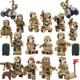 Military Figures Australia - 16pcs set Military Soldier Field Team Building Blocks Bricks Models Figures Educational Cartoon Toys Children Gift