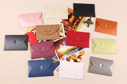 $enCountryForm.capitalKeyWord Australia - 10pcs Heart Buckle Colored Pearl Blank Romantic Mini Paper Envelopes Wedding Invitation Envelope Gilt Envelope DIY Craft105x72mm