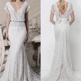 Short Slim lace online shopping - Berta Lace Mermaid Wedding Dresses Sexy Deep V Neck Appliqued Bridal Gowns Backless Sequins Sweep Train Slim Wedding Dress
