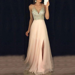 prom dress chiffon slit crystal Australia - Pink Elegant 2020 Evening Dresses A Line Crystal Beaded Sexy V Neck High Slit Chiffon Prom Dress Long Re Soiree Robe