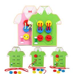 $enCountryForm.capitalKeyWord NZ - Montessori Toys Educational Wooden Toys for Children Early Learning Beads Lacing Board Toddler Sew On Buttons Teaching Aids