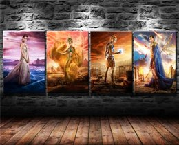 Egypt Figures Australia - Gods of Egypt Poster,4 Pieces Canvas Prints Wall Art Oil Painting Home Decor (Unframed Framed) 16x24x4.
