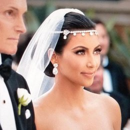 trendy chain headbands Australia - Hot Sale Kim Kardashian Headpieces For Wedding Party Sparkly Crystals Bridal Tiaras Crowns Luxury Handwork Head Chains Bridal Jewelry AL2506