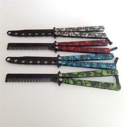 Pintado dobrável pente de aço inoxidável artesanal penteado borboleta faca pente arquivo de faca cabeleireiro ferramenta prática pente SZ478 venda por atacado
