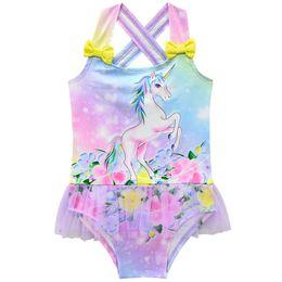 Chinese  Unicorn Kids Swimwear lace floral Girls Swimsuit sweet One-piece Girls Swimwear Kids Bathing Suits Child Sets Beachwear A4556 manufacturers