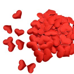 romantic wedding tables Canada - 35mm Romantic Sponge Satin Fabric Heart Petals Wedding Confetti Table Bed Heart Petals Wedding Valentine Decoration
